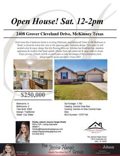 Open House on Saturday from 12-2pm - Contact Shelby for more information!