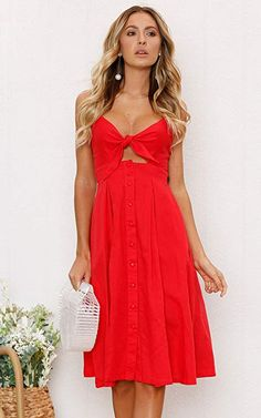 1673ee1773c ECOWISH Womens Dresses Summer Tie Front V-Neck Spaghetti Strap Button Down A -Line