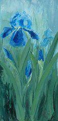 Iris Paintings - Blue Iris  by Mary Rogers