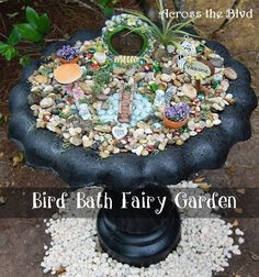 Repurposed BirdBath to Fairy Garden