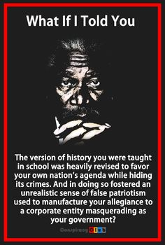 When you put it this way to the average person it sounds like a conspiracy theory, but the sad/scary thing is, if you actually know about real American history, you know this is absolutely true. Conspiracy Theories, History Facts, History Quotes, History Books, Black Power, Thought Provoking, Black History, In This World, Just In Case