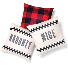Did you make the list? Set of 2 cute decor pillows that let you flip one pillow cover to either naughty or nice. $19.99