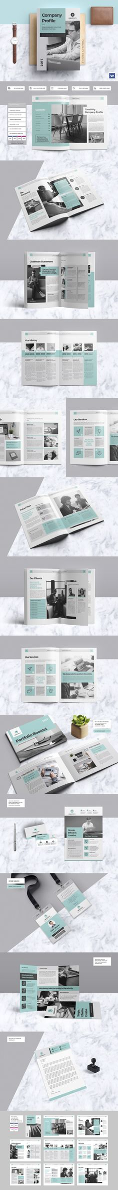 Clean & Professional Company Profile With Include Portfolio Booklet, Trifold Brochure, & More #template