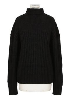 The Row Knitwear :: The Row black alpaca and silk chunky knit Hunston pullover | Montaigne Market