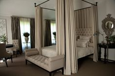 Using Ready Made Curtains On Four Poster Beds with PVC to make Canopy Bed Canopy Bed Curtains, Canopy Bedroom, Dream Bedroom, Home Bedroom, Bedroom Decor, Curtains Around Bed, Cream Curtains, Canopies, Drapery