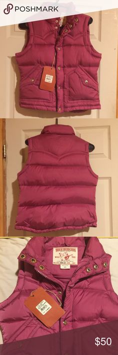 True religion vest Brand new w/tags. Perfect for the fall or light winter months. This vest keeps a casual flare to your wardrobe. It features TR detailing all around! True Religion Jackets & Coats Vests
