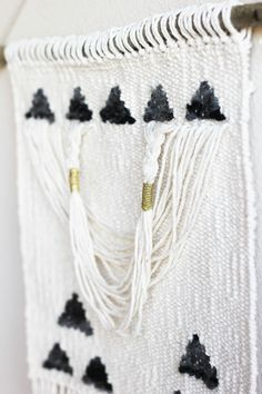 Gold Triangles Draped Woven Wall Hanging Weave
