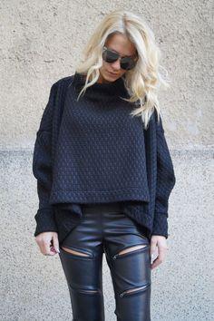 Black Asymmetrical Sweater/Cozy by FloAtelier on Etsy