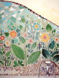 Kwiatowe motywy, ścienna mozaika.   https://www.facebook.com/CeramikaParadyz