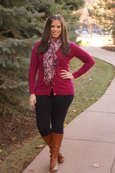 """cranberry cardigan, scarf, leggings, boots  #curvy    """"if you like my curvy girl's fall/winter closet, make sure to check out my curvy girl's spring/summer closet.""""   http://pinterest.com/blessedmommyd/curvy-girls-springsummer-closet/pins/"""