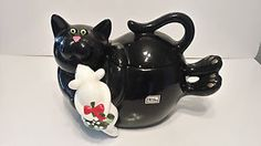 Dept-56-Cat-and-mouse-Cookie-Jar-Meow-Rare-Hand-Painted