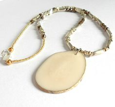 Ivory Tauga Nut Beaded Necklace Nature by theblackstarboutique, $34.12
