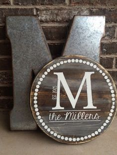 Monogram wood sign circular sign farmhouse style sign wedding gifts bridal s Wood Monogram, Monogram Signs, Letter Monogram, Diy Wood Signs, Pallet Signs, Established Sign, Family Name Signs, Dark Walnut Stain, Diy Holz