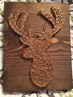 Rudolph reindeer string art (Christmas)- Order from KiwiStrings on Etsy! ( www.KiwiStrings.etsy.com )
