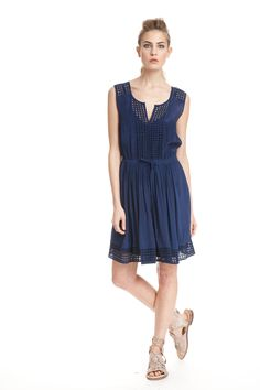 Mesh Insert Frock - With mesh eyelet shoulder details, lapel and hem, this easy summer-to-fall transitional dress comes in two colors. Features a gathered, drawstring waist, and slip lining for added comfort.