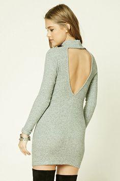 Ribbed Knit Cutout Back Dress