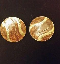 Brown and gold tone vintage earrings pierced Enamel Retro Costume, Vintage Earrings, Enamel, Personalized Items, Brown, Pierced Earrings, Gold, Ebay, Shop