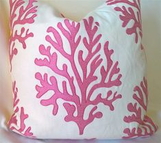 "Lilly Pulitzer Lee Jofa SEAFAN Hibiscus Embroidered Coral Linen Blend Custom Pillow, Throw Pillow, Decorative Pillow 19""x19"" by yorkshiredesigns on Etsy"