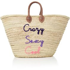 Poolside Shorty Embroidered Straw Tote (740 RON) ❤ liked on Polyvore featuring bags, handbags, tote bags, multi, handbags totes, tote purses, tote handbags, brown handbags and straw tote