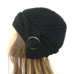 Women's Knit Hat  Hand Knit Hat    Cloche Hat  in Black  by Ebruk,
