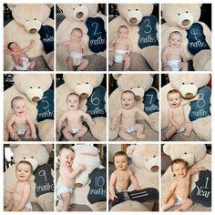 Ideia para registrar os meses do bebê. Amamos esse tipo de registro!    Fotos: momtog.com  www.mamaeachei.com.br    #muitoamor #fotografia #momentos