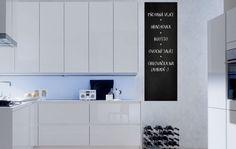 """Chalkboard foil in the kitchen - autocolant de perete. Vă doriti un interior elegant? Autocolantul inovator si original de perete """"Chalkboard foil in the kitchen """" va desăvârsi interiorul dvs. într-un mod neconventional. Încercati autocolante de perete, care sunt o metodă accesibilă si în acelasi timp foarte eficientă de a avea un interior diferit de ceilalti. Cu autocolantele noastre de perete, veti avea un design original al peretilor dvs. în câteva minute si veti crea un mediu confortabil… Beautiful Roses, Life Is Beautiful, Banksy, Einstein, Chalkboard, Sweet Home, Kitchen, Room, Design"""