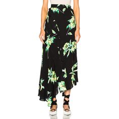 Proenza Schouler Printed Crepe Georgette Asymmetric Skirt ($435) ❤ liked on Polyvore featuring skirts, crepe skirt, button front skirt, asymmetrical skirt, asymmetrical hem skirt and georgette skirt