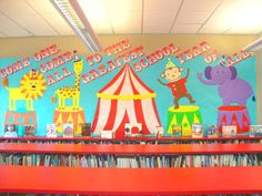 """""""Come One, Come All to the Greatest School Year of All"""" is a colorful circus themed bulletin board idea for Back to School."""
