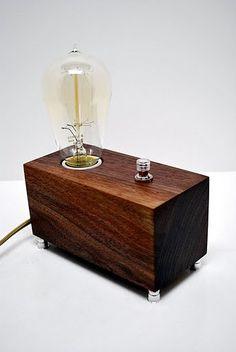 The Menlo Park Lamp- Single Edison Bulb in Walnut COMING SOON. $95.00, via Etsy.