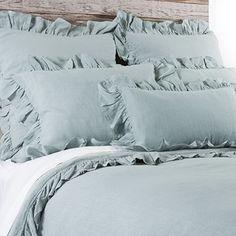 Charlie Sea Foam Bedding | 100% Linen Duvet and Shams | Bedding | Pom Pom at Home