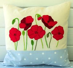 Bustle & Sew Poppies Cushion (Issue 43 of Bustle & Sew Magazine)  http://bustleandsew.com/store/publications/issue-43-august-2014/