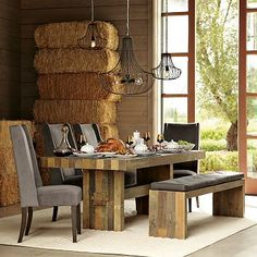 Dining room table with large overhangs and bench seating.