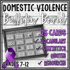 This Domestic Violence Awareness Interactive Bulletin Board includes 50 slides (which make 25 cards to hang on your bulletin board). Cards include relevant vocabulary, statistics, quotes, and resources/helpline information.I print each page on colored printer paper. (Purple is the color for Domest...