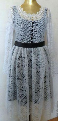 Платья ручной работы. Ярмарка Мастеров - ручная работа. Купить 135 платье вязаное белое пуховое , одежда. Handmade. Белый