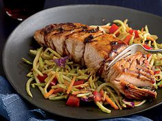 Seared Ginger-Balsamic Salmon with Hot and Sour Slaw