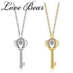"LOVE BEAR Brand Fashion Jewelry Chain Necklaces For Women Gold Color Crown Key With Crystal Pendant Necklaces 18"" Christmas Gift //Price: $US $5.79 & FREE Shipping // #hashtag1"