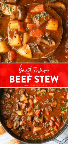 The perfect comfort food dinner idea for tonight! This cozy, classic Beef Stew Recipe has tender beef, carrots, mushrooms, and potatoes. It is a hearty soup that will quickly become a family favorite! Save this pin for later! Damn Delicious Recipes, Best Soup Recipes, Potato Recipes, Crockpot Recipes, Dinner Recipes, Yummy Food, Classic Beef Stew, Fried Beef, Easy Weeknight Meals