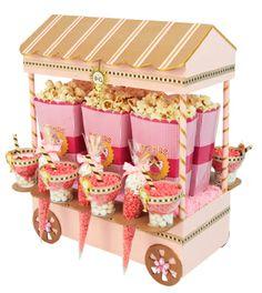 Despachador de dulces para primera comunión. Centro de mesa con bolsas de palomitas. Rosa