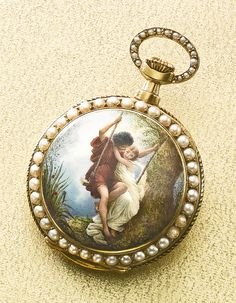 Swiss A FINE 18K YELLOW GOLD, ENAMEL AND PEARL-SET OPEN-FACED PENDANT WATCH, RETAILED BY THE DUHME CO., CINCINNATI, OHIO CIRCA 1880 MVT 72431 CASE 72431