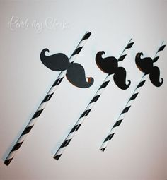 Mustache with Black striped Straws perfect for your Party Shower Wedding Photo booth 13 pieces. $12.00, via Etsy.