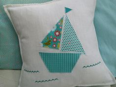 Handmade applique boat cushion/pillow by StitchToSew on Etsy, £15.00