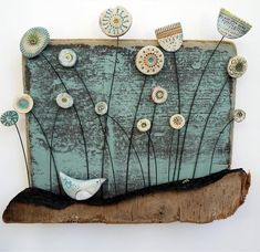 Little Bird in Meadow by Shirley Vauvelle in Wall Hung Archive, Sculpture using Earthenware and driftwood. Clay Wall Art, Ceramic Wall Art, Clay Art, Ceramic Pottery, Clay Projects, Clay Crafts, Arts And Crafts, Paperclay, Fimo Clay