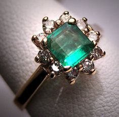 Antique Vintage Emerald Diamond Wedding Ring Retro Deco H. Stern Styling Engagement Ring - ETSY