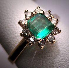 Antique Vintage Emerald Diamond Wedding Ring Retro Deco H. Stern Styling Engagement Ring - ETSY