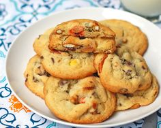 Peanut butter pretzel cookies with chocolate chips and Reeces Pieces....