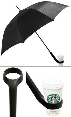Umbrella with a coffee holder.
