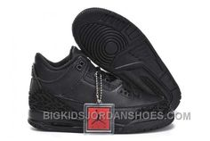 best website c0b7c 8e8f9 Hot Nike Air Jordan 3 Kids All Black Shoes