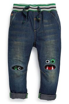 Buy Monster Knee Jeans online today at Next: United States of America Sewing Kids Clothes, Sewing For Kids, Baby Sewing, Diy Clothes, Patched Jeans, Denim, Ripped Jeans, Old Jeans, Refashion