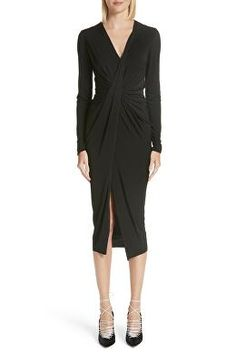 3029eb35f42f JASON WU Designer Gather Detail Jersey Midi Dress Casual Dresses