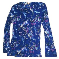 (NWOT) Paisley & Flowered Long Sleeve, Collard Top -Blue Paisley & Flowered Top  -TAILORED FIT  -Dark Blue Top w White, Purple, Black, and Shades of Blue Print -Collard  -Button Down  -Long Sleeves w Button Cuff  -Side Slits on Sides, Bottom of Hem  -Shirt is accented w a Ruffled Effect (Shown in last picture) Tops